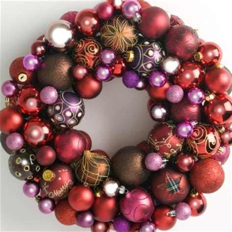 heirloom bauble wreath reds pinks christmas wreaths direct