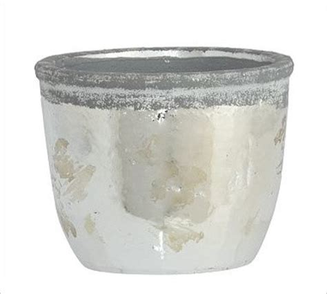 Silver Planters Indoor by Whitley Stoneware Cachepot Metallic Silver Large