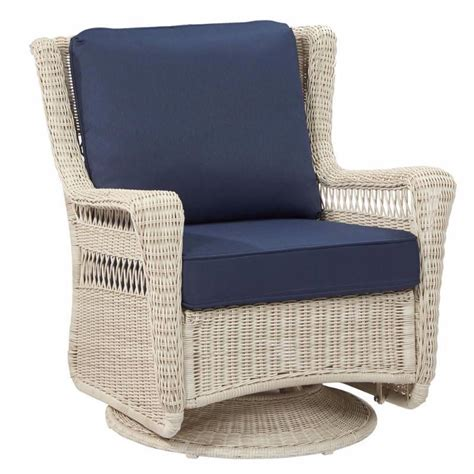 Used Patio Chair Swivel Rocker by Hton Bay Park White Swivel Rocking Wicker