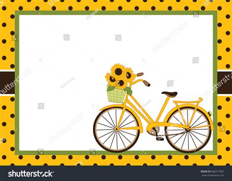 bicycle birthday card template vector card template bicycle sunflowers card stock vector