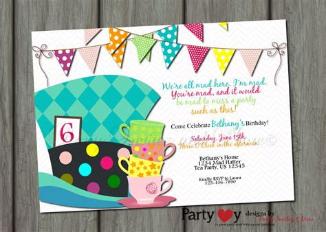 mad hatter hat card template mad hatters tea invitation templates