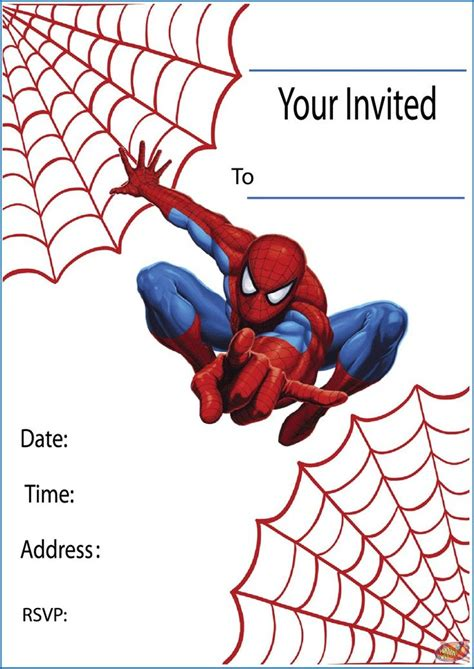 free template for spiderman birthday invitations