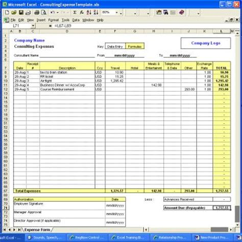 Mba Independent Consulting Course Exle by Consulting Expense Excel Template Consulting Expense