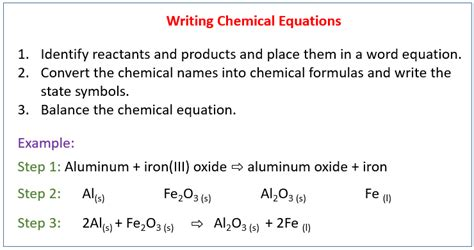 writing  balanced chemical equation solutions examples
