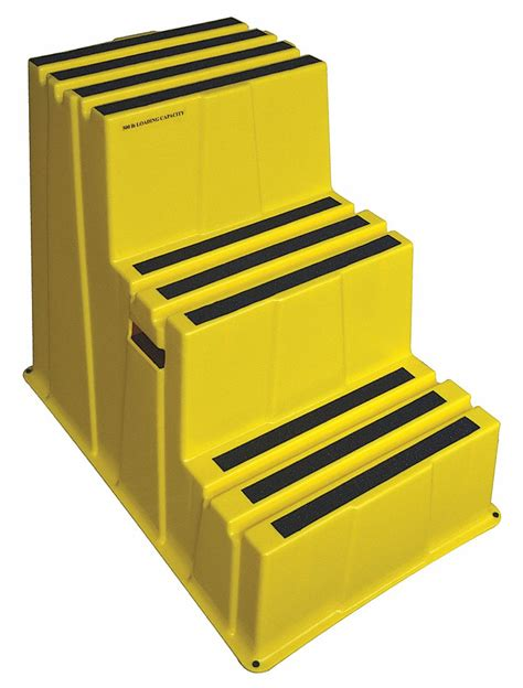 Polyethylene Step Stool 3 Steps by Grainger Approved Plastic Box Step 28 3 4 Quot Overall Height