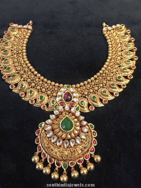 bridal choker necklace design south india jewels