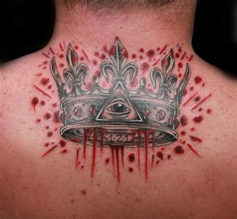 in the blood tattoo back crown blood by fatink