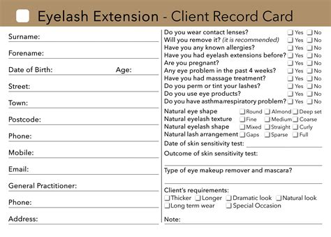 client record cards template eyelash extension client card treatment consultation