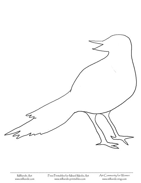printable templates of birds bird template printable bird coloring pages crow free