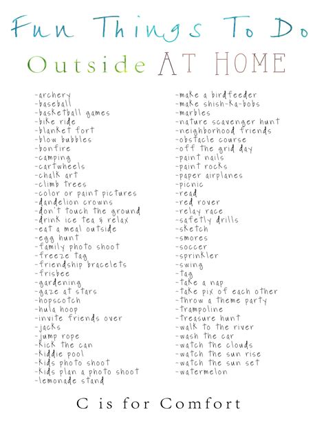 things to do at home outside in summer c is for