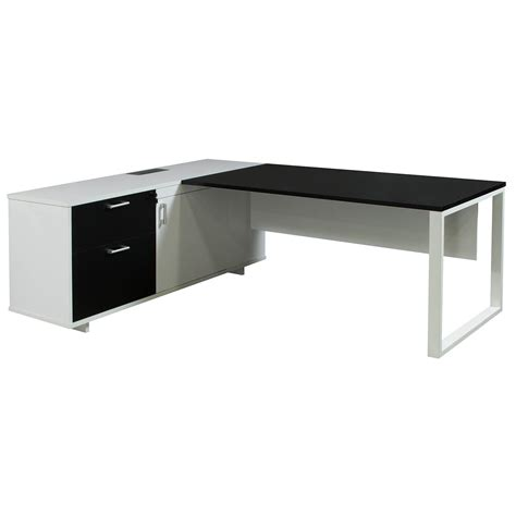Morgan Executive Left Return Melamine L Shape Desk Black Black White Desk