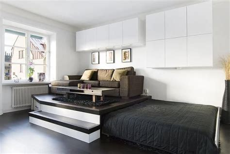 Bed In Living Room by Practical Storage Solution In The Living Room Of A Small