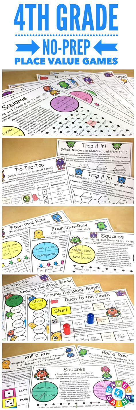 printable math games 4th grade rounding games for 4th grade printable 4th grade math