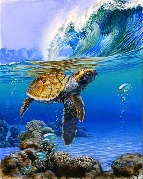 surf art paintings turtle duck dive surf art watercolor
