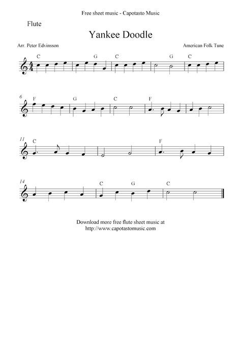 Yankee Doodle Free Flute Sheet Notes
