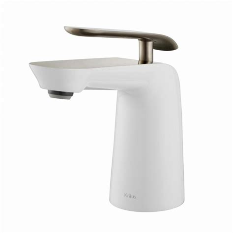 single hole bathroom faucet brushed nickel kraus seda single hole single handle basin bathroom faucet in brushed nickel and white