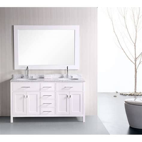 white double bathroom vanity design element dec076a 2 london 61 double sink bathroom vanity set in pearl white finish