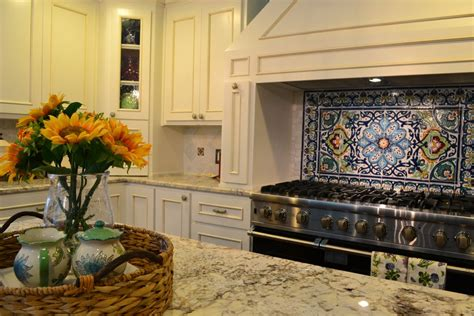 mexican tile kitchen backsplash traditional kitchen with l shaped by mizellmooreinteriors