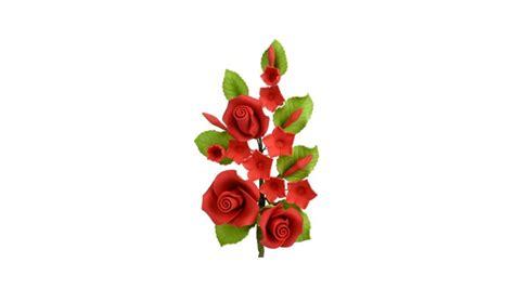 fiori e dolci ramo fiori rosse h13cm in zucchero decorazione