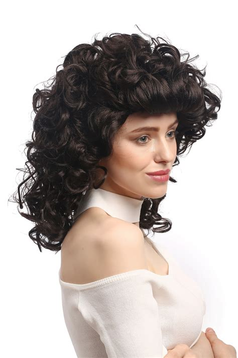 Dress Curly 100 Ori wig carnival curly black brown backcombs colonial civil was ebay