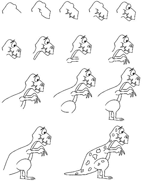 Drawing T Rex Step By Step by Critters Learn To Draw Lessons
