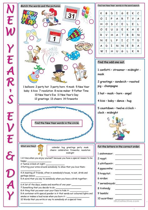 new year activity new year s day vocabulary exercises worksheet free