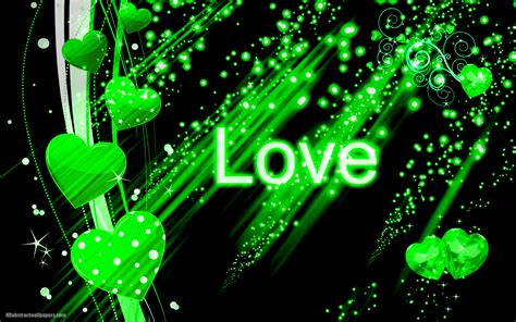 Wallpaper Green Love | black abstract wallpaper with green love hearts hd