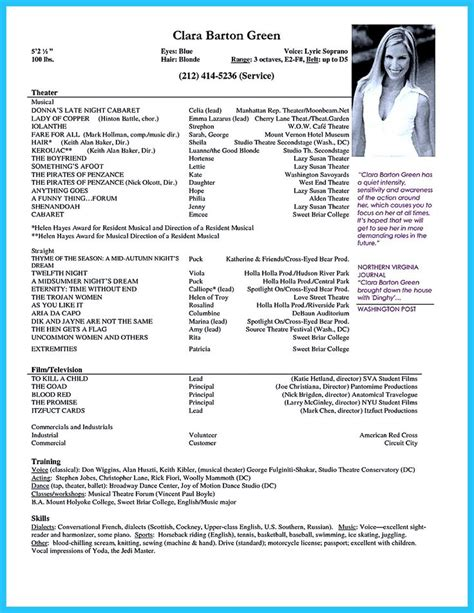 Actor Resume Television by Producers Resume