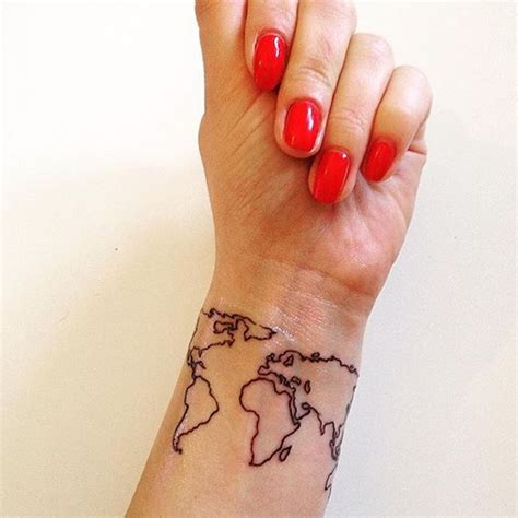 world map tattoo on wrist world map 50 of the most popular designs for chic