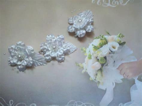 Bridal Flower Hair Clip Set bridal 3 set hair white silk