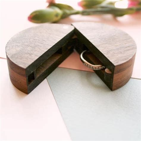 round wooden ring box ring box wedding ring holder for