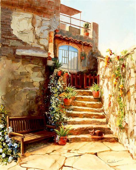 italian courtyard tuscany painting by larisa napoletano