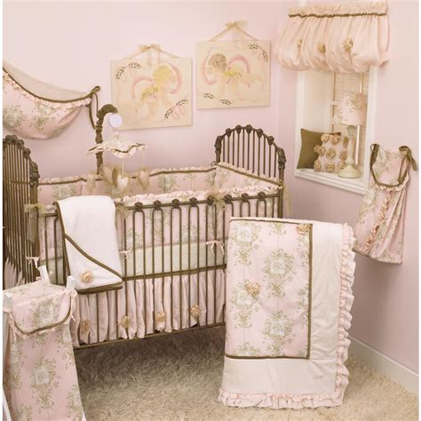 Pink Toile Crib Bedding Cotton Tale Designs Lollipops And Roses Pink Toile 4 Crib Bedding Set Lr4s The Home Depot