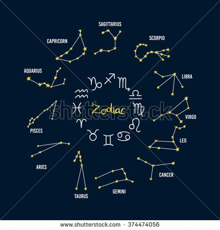 zodiac horoscope constellation skyline many other stock
