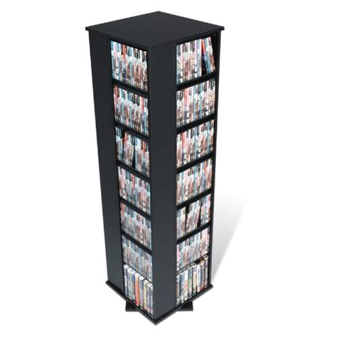 dvd storage tower prepac black 4 sided large spinning media dvd cd games