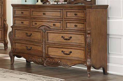 4 piece moorewood park traditional bedroom set usa homelegance moorewood park dresser pecan 1704 5 at
