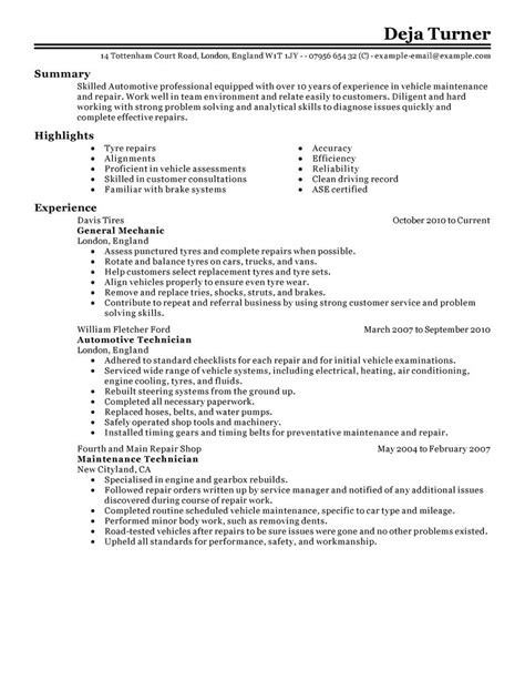 Resume Sles For Automobile Industry Automobile Industry Resume For Automobile Industry