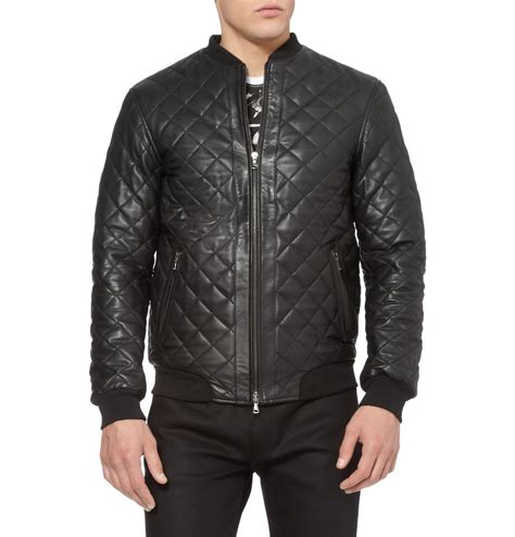 Black Quilted Bomber Jacket by Lot78 Quilted Leather Bomber Jacket In Black For Lyst