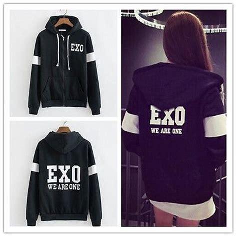 Hoodie Zipper Exojaket details about korea team kpop exo chan yeol d o we are one black zip hoodies jacket coat