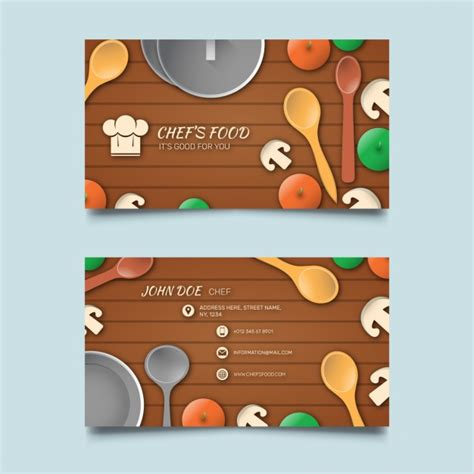 Business card with food and wooden background Vector