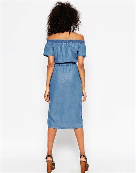 Shoulder Denim Dress Light Blue Blue lyst asos denim shoulder waisted midi dress in blue
