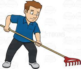 Backyard Ground Ideas A Man Using A Garden Rake Cartoon Clipart