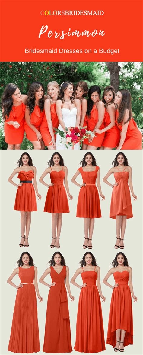 persimmon color dress cheap chiffon bridesmaid dresses in persimmon color