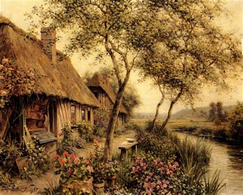 paintings of cottages louis aston cottages beside a river painting best