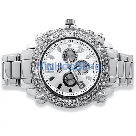 heavy chrono silver bling bling mens silver