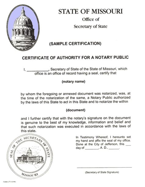 Missouri Service Letter Exle Certification Authentication Apostilles