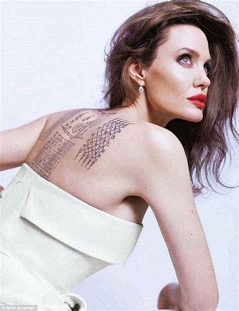 angelina jolie tattoo daily mail angelina jolie flaunts tattoo which binds her with ex