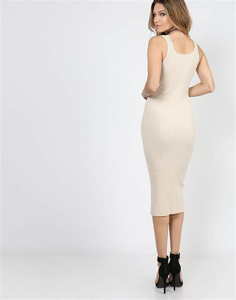 ribbed button midi tank dress 2020ave