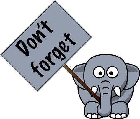 Dont Forget by Don T Forget Elephant Clipart Clipartxtras