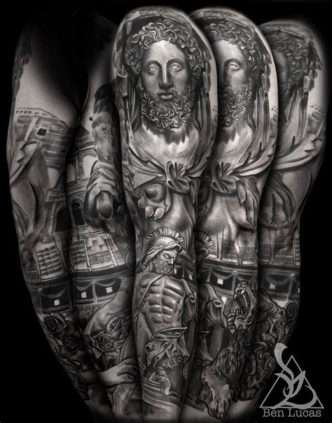 roman statue tattoo hercules fighting the statue sleeve on